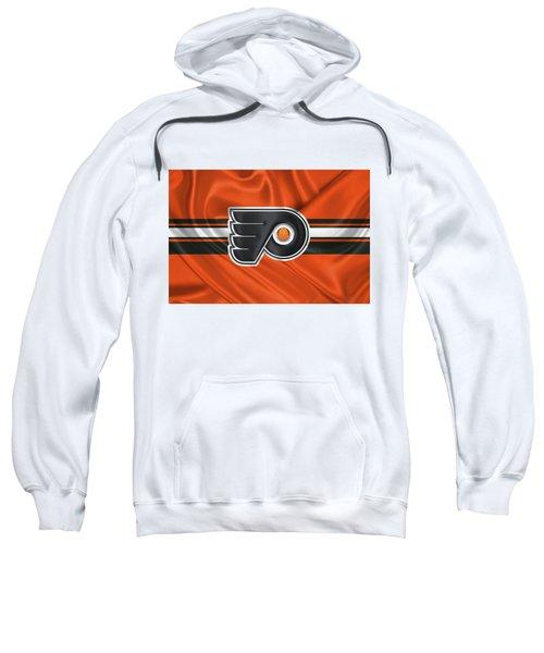 Philadelphia Flyers - 3 D Badge Over Silk Flag Sweatshirt by Serge Averbukh