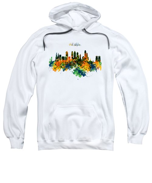 Philadelphia Watercolor Skyline Sweatshirt by Marian Voicu