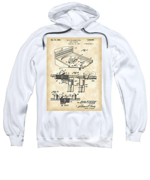 Pinball Machine Patent 1939 - Vintage Sweatshirt by Stephen Younts