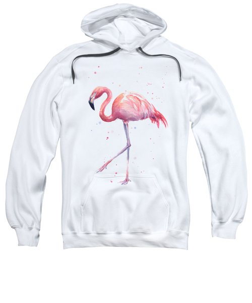 Pink Watercolor Flamingo Sweatshirt by Olga Shvartsur