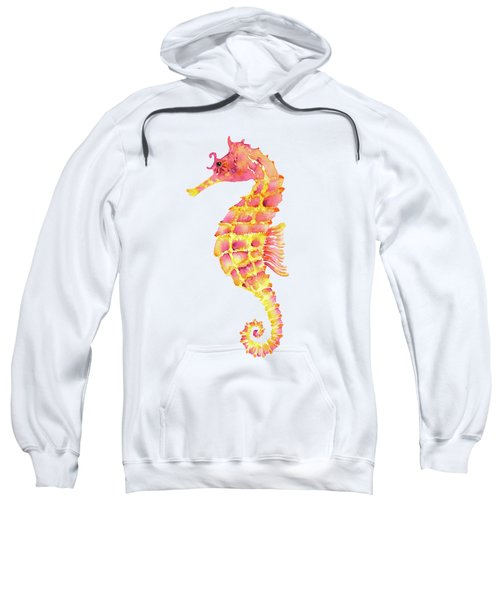 Pink Yellow Seahorse - Square Sweatshirt by Amy Kirkpatrick