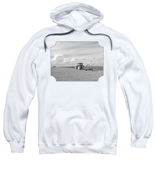Ploughing After The Harvest In Black And White Sweatshirt by Gill Billington