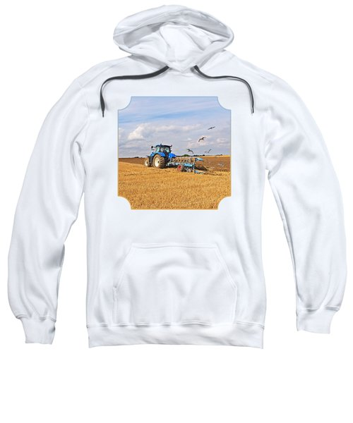 Ploughing After The Harvest - Square Sweatshirt by Gill Billington