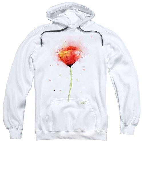 Poppy Watercolor Red Abstract Flower Sweatshirt by Olga Shvartsur