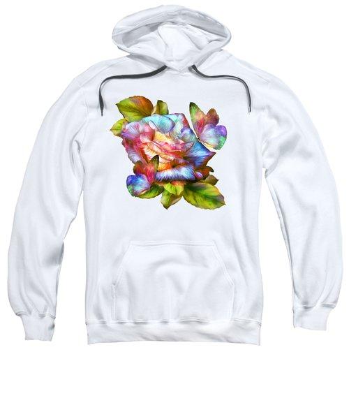 Rainbow Rose And Butterflies Sweatshirt by Carol Cavalaris