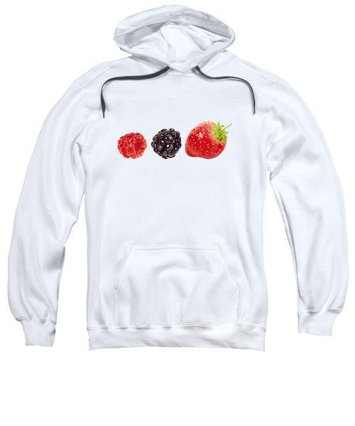 Raspberry, Blackberry And Strawberry In Watercolor Sweatshirt by Kathleen Skinner