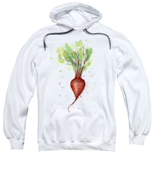 Red Beet Watercolor Sweatshirt by Olga Shvartsur