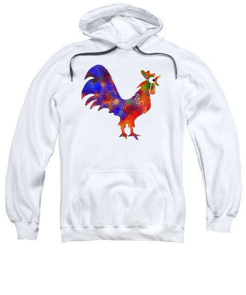 Red Rooster Art Sweatshirt by Christina Rollo