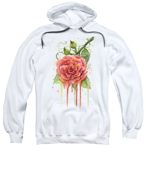 Red Rose Dripping Watercolor  Sweatshirt by Olga Shvartsur