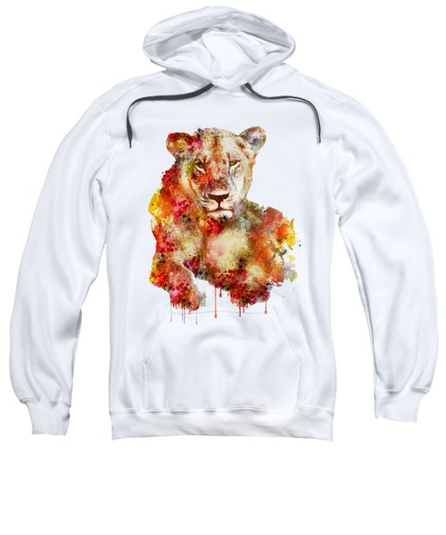 Resting Lioness In Watercolor Sweatshirt by Marian Voicu
