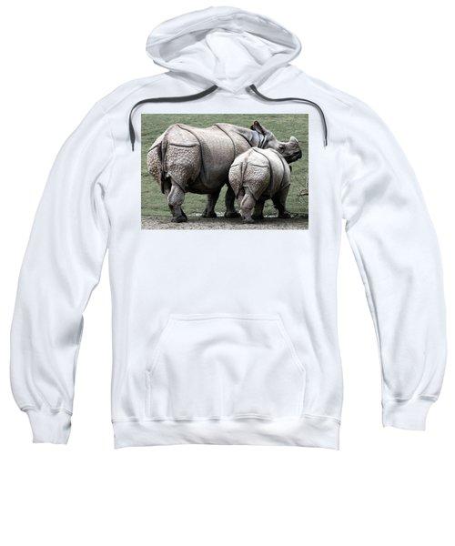 Rhinoceros Mother And Calf In Wild Sweatshirt by Daniel Hagerman