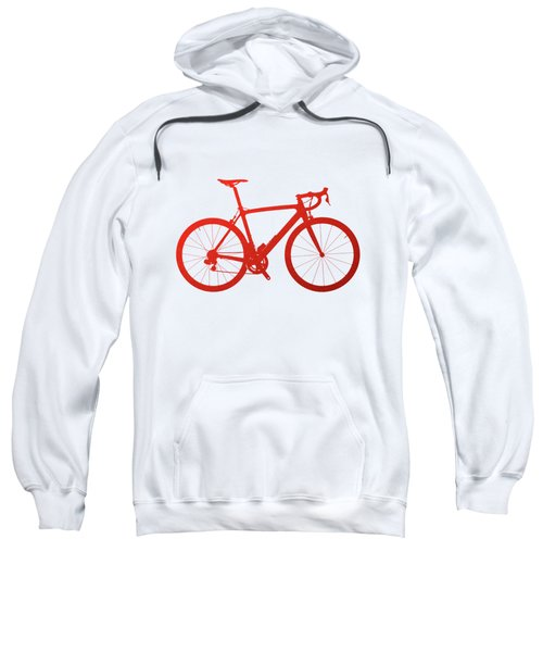 Road Bike Silhouette - Red On White Canvas Sweatshirt by Serge Averbukh