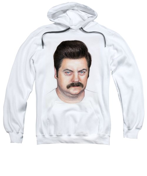 Ron Swanson Portrait Nick Offerman Sweatshirt by Olga Shvartsur