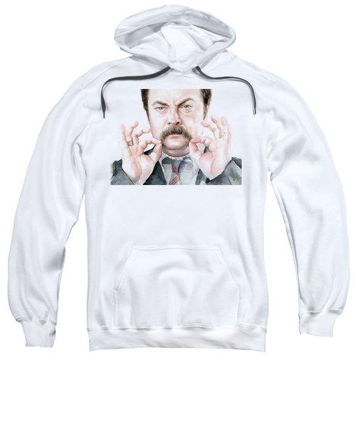 Ron Swanson Mustache Portrait Sweatshirt by Olga Shvartsur
