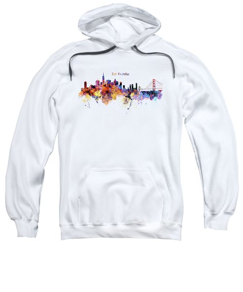 San Francisco Watercolor Skyline Sweatshirt by Marian Voicu