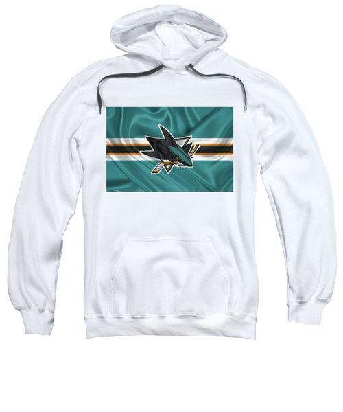 San Jose Sharks - 3 D Badge Over Silk Flagsan Jose Sharks - 3 D Badge Over Silk Flag Sweatshirt by Serge Averbukh