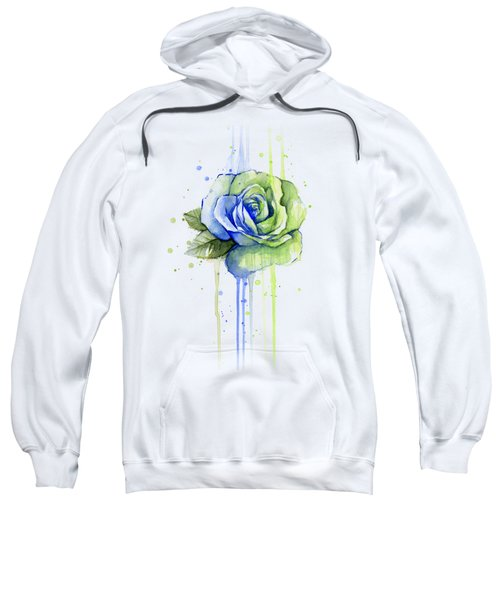 Seattle 12th Man Seahawks Watercolor Rose Sweatshirt by Olga Shvartsur