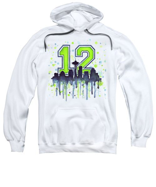 Seattle Seahawks 12th Man Art Sweatshirt by Olga Shvartsur