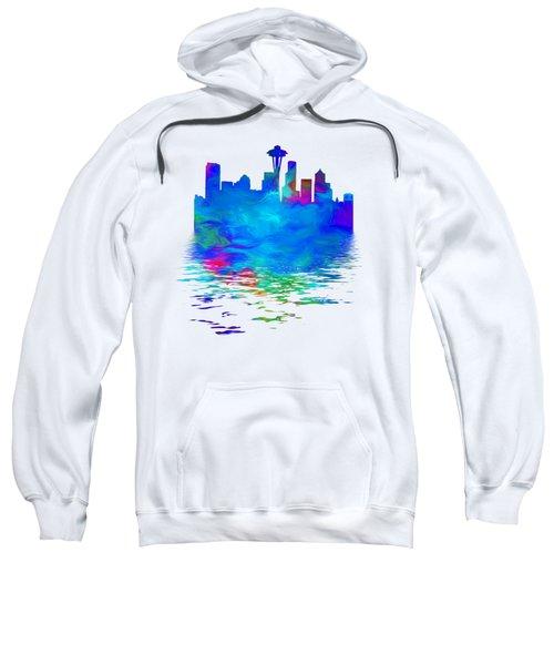 Seattle Skyline, Blue Tones On White Sweatshirt by Pamela Saville