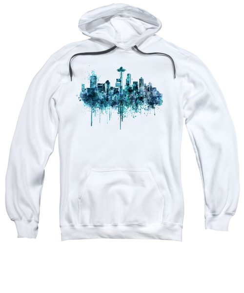 Seattle Skyline Monochrome Watercolor Sweatshirt by Marian Voicu