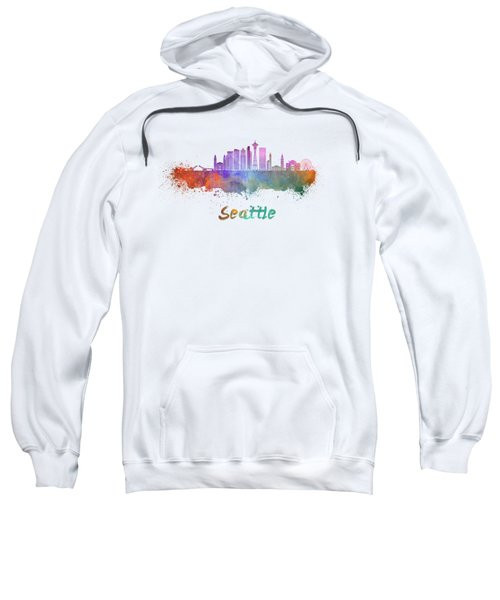 Seattle V2 Skyline In Watercolor Sweatshirt by Pablo Romero