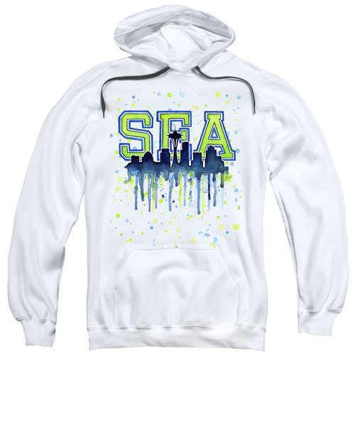 Seattle Watercolor 12th Man Art Painting Space Needle Go Seahawks Sweatshirt by Olga Shvartsur