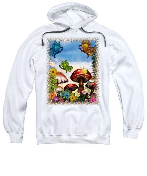 Shroomvilla Summer Fantasy Folk Art Sweatshirt by Sharon and Renee Lozen