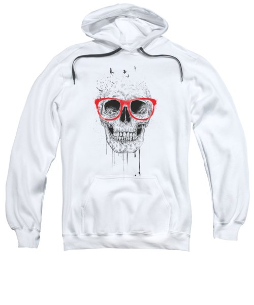 Skull With Red Glasses Sweatshirt by Balazs Solti