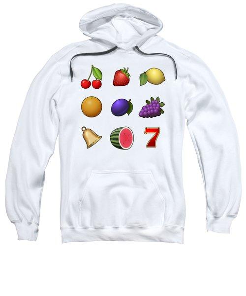 Slot Machine Fruit Symbols Sweatshirt by Miroslav Nemecek