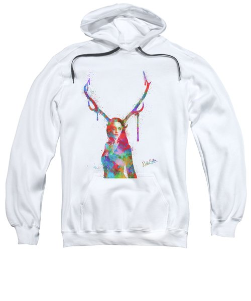 Song Of Elen Of The Ways Antlered Goddess Sweatshirt by Nikki Marie Smith
