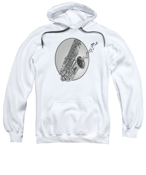 Sounds Of The Sax In Black And White Sweatshirt by Gill Billington
