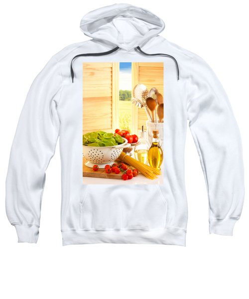Spaghetti And Tomatoes In Country Kitchen Sweatshirt by Amanda Elwell