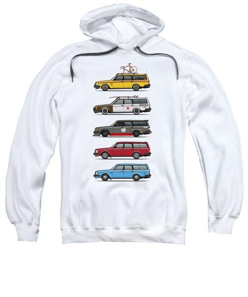 Stack Of Volvo 200 Series 245 Wagons Sweatshirt by Monkey Crisis On Mars