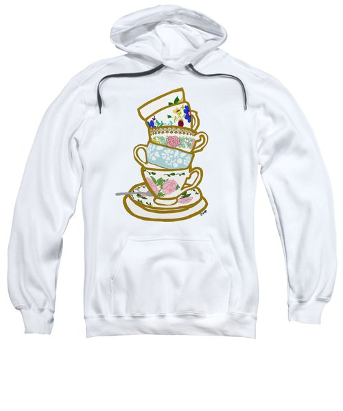 Stacked Teacups Sweatshirt by Priscilla Wolfe