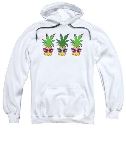 Summer Pineapples Wearing Retro Sunglasses Sweatshirt by MM Anderson