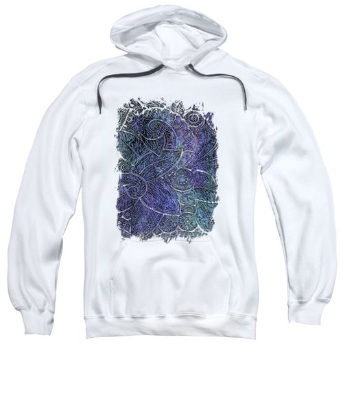 Swan Dance Berry Blues 3 Dimensional Sweatshirt by Di Designs