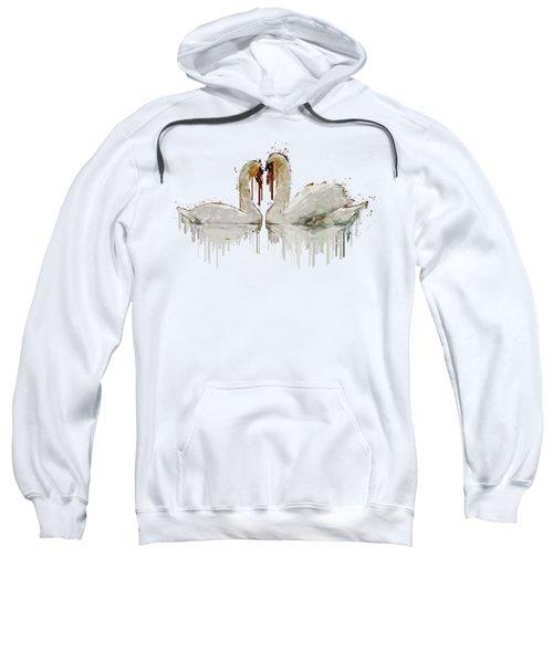 Swan Love Acrylic Painting Sweatshirt by Georgeta Blanaru