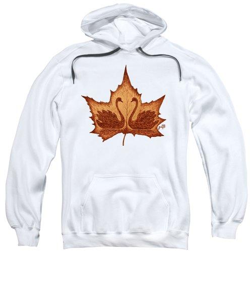 Swans Love On Maple Leaf Original Coffee Painting Sweatshirt by Georgeta Blanaru
