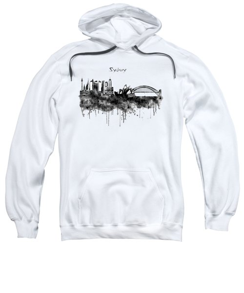 Sydney Black And White Watercolor Skyline Sweatshirt by Marian Voicu