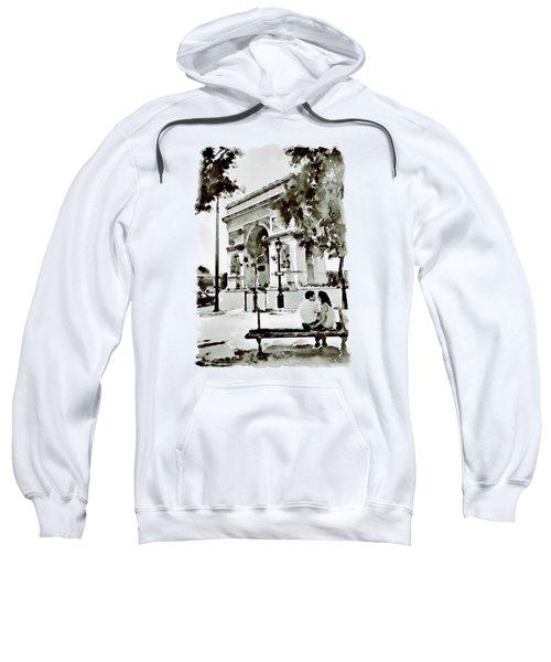The Arc De Triomphe Paris Black And White Sweatshirt by Marian Voicu
