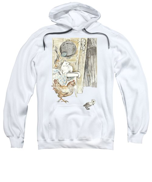 The Ugly Duckling - Bullied By Mean Hen And Proud White Cat - Illustration For Classic Fairy Tale Sweatshirt by Elena Abdulaeva