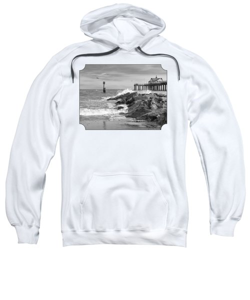 Tide's Turning - Black And White - Southwold Pier Sweatshirt by Gill Billington