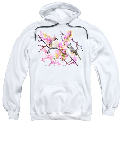 Titmice And Cheery Blossom Sweatshirt by Suren Nersisyan