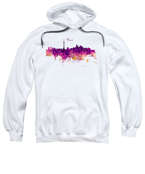 Toronto Watercolor Skyline Sweatshirt by Marian Voicu