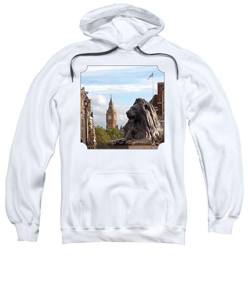 Trafalgar Square Lion With Big Ben Sweatshirt by Gill Billington
