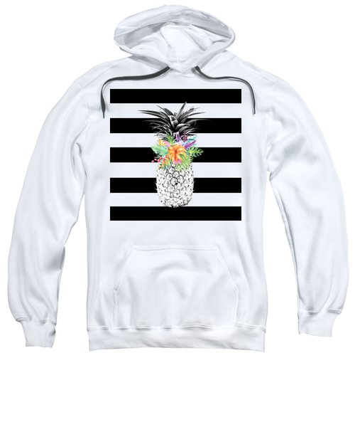 Tropical Flower Pineapple Black And White Stripes Sweatshirt by Dushi Designs