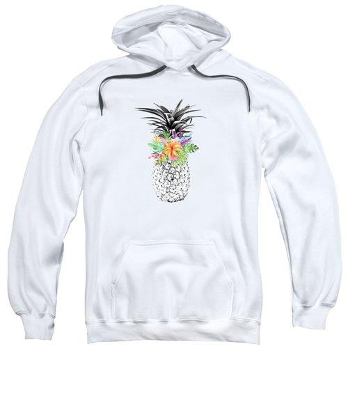 Tropical Pineapple Flowers Aqua Sweatshirt by Dushi Designs