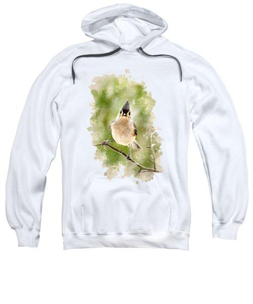 Tufted Titmouse - Watercolor Art Sweatshirt by Christina Rollo