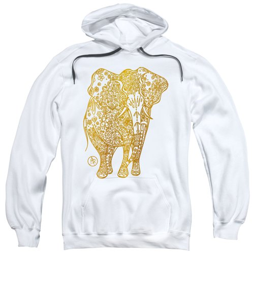 Unique Golden Elephant Art Drawing By Megan Duncanson Sweatshirt by Megan Duncanson