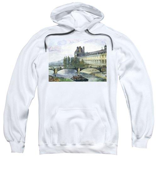 View Of The Pavillon De Flore Of The Louvre Sweatshirt by Francois-Marius Granet